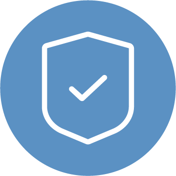 An icon of a check mark inside of a shield