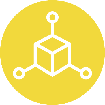 An icon of a cube surrounded by nodes